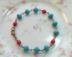 Turquoise and Red Vintage Style Bracelet by thebeadedcottage,
