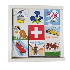 "Atelier Fischer Wooden Swiss Memo Game (48 Pieces - 24 Pairs) The game consists of 24 pairs of images iconic items found in Switzerland. The game is played like the traditional memo game - you turn the pieces over and try to find matching pairs.Memory games improve observation and image recognition skills, and a fun way to learn about Switzerland.Made in Switzerland 48 Tiles (2-1/4 x 2-1/4"")Materials: Birch Tiles / Spruce Box Size: Box 7.8x7.8x1.6"""