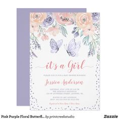 Butterfly Baby Shower, Baby Shower Niño, Floral Baby Shower, Baby Shower Invites For Girl, Girl Shower, Bridal Shower, Tarjetas Baby Shower Niña, Invitaciones Baby Shower Niña, Butterfly Invitations