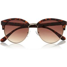 River Island Brown tortoise clubmaster-style sunglasses (26 BAM) ❤ liked on Polyvore featuring accessories, eyewear, sunglasses, brown glasses, brown sunglasses, tortoise shell sunglasses, tortoiseshell glasses and river island