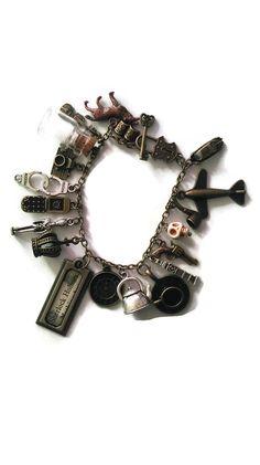 Sherlock Holmes bracelet, filled charm bracelet, bronze and silver fan jewellery, sherlock, fandom, loaded Holmes charm bracelet,