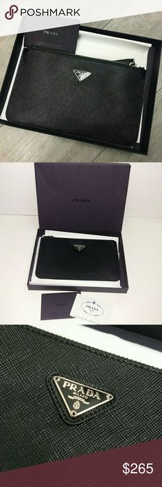 """Authentic Prada Saffiano Pouch This Prada zip pouch is crafted of black saffiano leather. Features the logo tab at front and silvertone hardware.Top zip closure. It comes in the original Prada box and tissue paper. Authentication card is included. There are no flaws or blemishes, like new.   Measurements: 5"""" x 8.25"""" Prada Bags"""