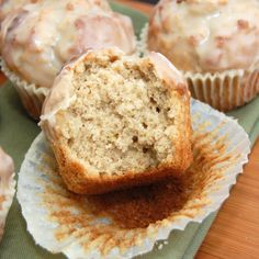 """glazed doughnut muffins"" (Wonder if they actually taste like cakey doughnuts.)"
