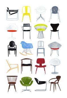 Ali Douglass - New gouache painting I made of modern chairs I like