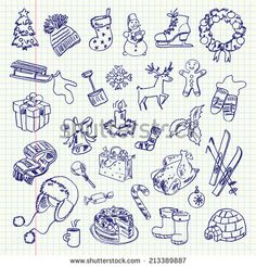 Freehand drawing Winter holiday items on a sheet of exercise book.