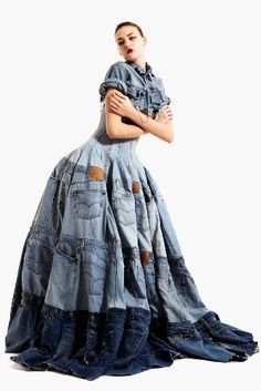 Denim Dress, made from 41 pairs of Levi 501's. Jeans by Gary Harvey of: http://garyharveycreative.com/