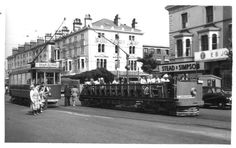 Llandudno Trams at the top of town. The area is now  a taxi rank opposite The Palladium. In the background on the corner, you can see The Carlton public house which is still there today.