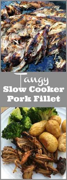 Tangy Slow Cooker Pork Fillet - easy and adaptable crockpot recipe, much lower in fat than pulled pork!
