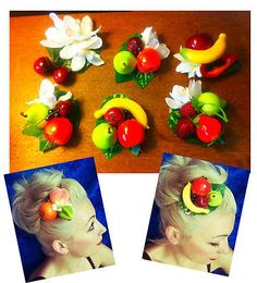 Fruit cocktail clip Pin Up Vintage Rockabilly hair accessory Tiki Hawaii Rockabilly Rebel, Rockabilly Party, Rockabilly Hair, Vintage Hair Pieces, Tiki Hawaii, Tropical Fashion, Pin Up Hair, Vintage Hawaii, Tropical Fruits