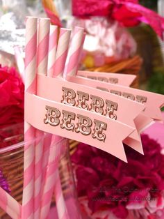sugar and spice baby shower. love the pink straws and bebe flags. easy diy
