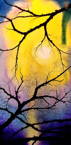 Buy Prints of Between the Branches, a Acrylic on Canvas by Kyle Brock from United States. It portrays: Nature, relevant to: sunrise, sunset, water, Kyle Brock, canvas, contemporary, expressionism, impressionism, landscape, original Signed, original