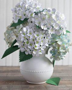 Paper Hydrangea flowers free PDF & SVG files: http://www.paper-papers.com/news/diy-metallic-paper-hydrangeas/ with tutorial