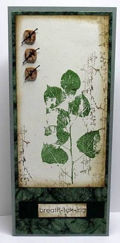 """Used G2G bases and panels   Inks used: Distress Walnut Stain and CS Hybrid Leaf and Earth. Papers were edged with Walnut Stain. Buttons from Haberdashery and stamped with the """"reed"""" UM stamp."""