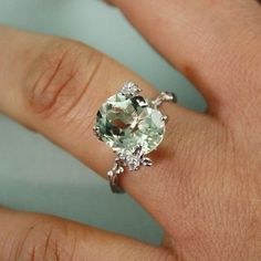 Sterling Silver Oval Green Amethyst Ring - gemstone ring tooriginal   tooriginal - Jewelry on ArtFire