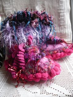 Women slippers handknit fairy pink fuchsia by lamamadesmatous