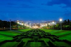 Parque Eduardo VII is one of the most beautiful parks in Lisbon. The night view from the top allow to see all the way to the Tagus River and downtown Lisbon. Lisbon, Portugal