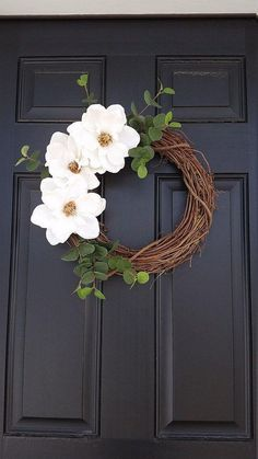 Your place to buy and sell all things handmade Magnolia Flower Wreath Spring Wreath Farmhouse Style Diy Spring Wreath, Summer Door Wreaths, Summer Door Decorations, Wedding Door Wreaths, Homemade Decorations, Winter Wreaths, Holiday Wreaths, Wreath Crafts, Diy Wreath