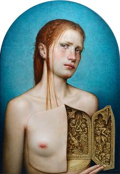 Dino Valls: TRIPTYCHA, 2017. Oil and silver leaf on wood, 55 x 38 cms.
