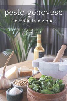 Fresh Basil Pesto Recipe, Basil Pesto Recipes, Veg Recipes, Italian Recipes, Pesto Genovese, Mortar And Pestle, Salsa, Cooking, Breakfast