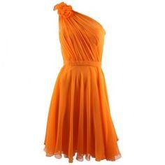 Pamella Roland One Shoulder Chiffon dress (Orange) Hirshleifers