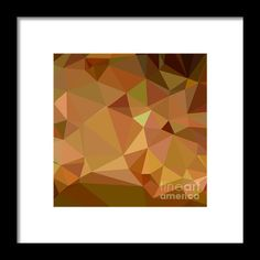 Cocoa Brown Abstract Low Polygon Background Framed Print By Aloysius Patrimonio
