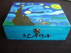 Wooden jewelry box, hand-painted jewelry box, wooden box with starry night by Van Gogh, jewelry storage, wedding gift Painted Wooden Boxes, Hand Painted, Van Gogh, Wooden Jewelry Boxes, Colorful Furniture, Toy Boxes, Jewellery Storage, Anniversary Gifts, Wedding Gifts
