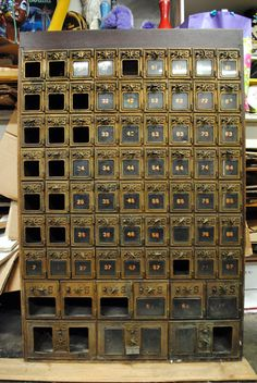 Vintage 1901 Brass Glass Post Office Box Section by RogueRetro