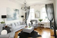 Szary salon: 20 pięknych wnętrz  - zdjęcie numer 11 Glamour Decor, Interior Decorating, Interior Design, Beautiful Living Rooms, Living Room Lighting, Home Decor Inspiration, Couch, Furniture, Lighting Ideas