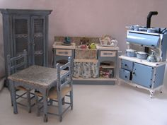 Dollhouse Kitchen Distressed Sink and Stove in blue by MiniAbuela