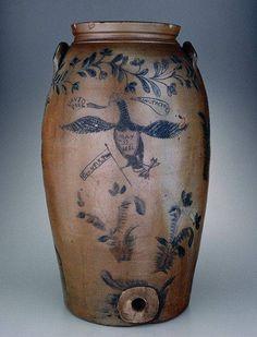 Fulton, David Parr's pottery, last known location The Greenbrier, White Sulphur Springs, West Virginia~♥~ Antique Crocks, Old Crocks, Antique Stoneware, Stoneware Crocks, Glazed Pottery, Glazes For Pottery, Antique Pottery, Pottery Art, Milk Cans