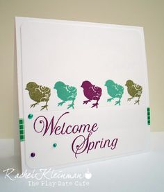 Chickadee spring card with Craft's Meow Easter Projects, Welcome Spring, Tag Design, Color Stories, Spring Colors, Scrapbooks, Card Making, Dating, Play