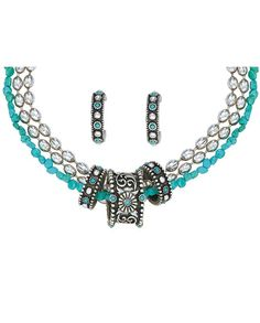 Turquoise & Silver Triple Ring Jewelry Set by Montana Silversmiths #WomensAccessories #Jewelry #WomensFashion #WesternFashion #WesternStyle #CowgirlChic #WesternChic