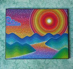 Colorful Print Laminated on woodblock Gulf Island Zig Zag Dot Art Painting, Mandala Painting, Stone Painting, Painting Patterns, Mandala Design, Elspeth Mclean, Mandala Rocks, Aboriginal Art, Mosaic Art