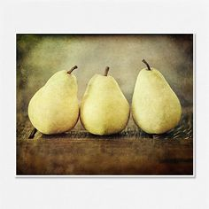 Food Photography, Art for Kitchen, pears, Yellow Kitchen Decor. Shabby Chic Wall art food. Rustic decor, french country chic. 8x10.