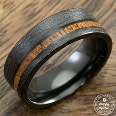 Black Titanium Brushed Finished Ring with Offset Koa Wood Inlay, 8mm, Comfort Fitment, Flat Shape