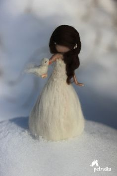 Snow Christmas fairies needle felted Waldorf door PETRUSKAfairyworld