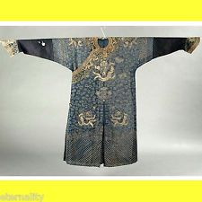 ANTIQUE CHINESE CHINA OFFICER ROBE CLOTH JACKET QING SILK DRAGON EMBROIDERY 19Th