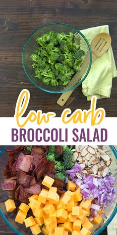 Broccoli Salad with Bacon! Cheddar, bacon, and ranch make this broccoli salad a hit with everyone that tries it! Red onions and almonds add a little crunch and the bacon is just perfect! We love this low carb broccoli salad! Low Carb Broccoli Salad, Salad Recipes Low Carb, Diet Recipes, Healthy Recipes, Low Carb Summer Recipes, Keto Taco Salad, Best Low Carb Recipes, Bacon Salad, Health Fitness