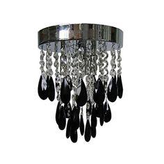 Black Crystal Flush Mount with 3 Lights – USD $ 119.99