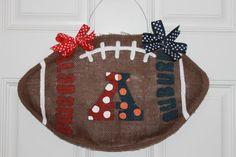House Divided Alabama/Auburn Burlap Football Door Hanger