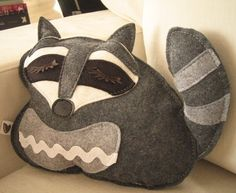 Kyle the Raccoon Wool Felt Applique Plush Doll Pillow by Cuore, $30.00