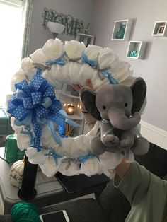Baby Shower Decorations For Boys, Boy Baby Shower Themes, Baby Boy Shower, Baby Shower Gifts, Baby Shower Wreaths, Baby Gifts, Elephant Baby Boy, Elephant Baby Showers, Baby Boy Wreath