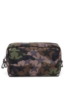 VALENTINO Camouflage Stars Medium Nylon & Calf Leather Pouch. #valentino #bags #leather #nylon #pouch #accessories #