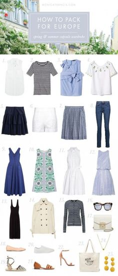 How To Pack For Europe: Spring and Summer Capsule Wardrobe How I Packed A Capsule Wardrobe For 12 Weeks In Europe, And What To Wear In France And Italy Packing Light Travel Tips Carry-On Packing Europe Travel Outfits, Packing For Europe, Travel Outfit Summer, Travel Europe, Packing Tips, Summer Travel, European Travel, Packing Light Summer, European Vacation
