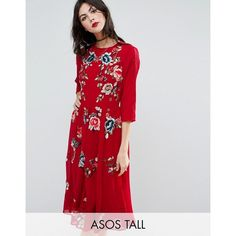 ASOS TALL PREMIUM Midi Skater Dress with Floral Embroidery (£105) ❤ liked on Polyvore featuring dresses, red, chiffon dresses, chiffon midi dress, lace sleeve dress, asos dresses and red midi dress