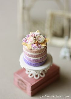 Dollhouse Miniature Purple Ombre Flower Cake                                                                                                                                                                                 More