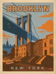 Tour of America Campaign. Illustrated Poster of Brooklyn, New York.Denny's Tour of America Campaign. Illustrated Poster of Brooklyn, New York. Ponte Do Brooklyn, Brooklyn New York, Brooklyn Bridge, Vintage Travel Posters, Vintage Postcards, Retro Posters, Vintage Maps, Plakat Design, Photo Vintage