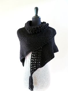 Black Color Knitted Crochet Shawl Wrap Stole by KnitsomeStudio