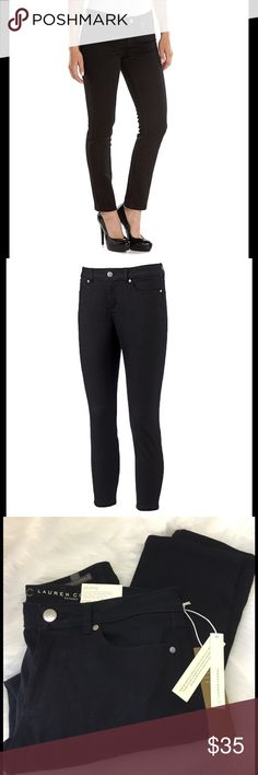 "LC Lauren Conrad Skinny Ankle Black Jeans 6, 10 These Skinny Ankle Jeans by Lauren feature trendy rolled cuffs and 5-pocket design. ( Can be worn cuffed or un rolled) Stretchy"" denim construction . Approx. 28"" inseam. Mid rise sits above hip. Ankle length,  Skinny cut. Zipper fly. Size 6 (flat across top of waist approx. 15"" ) Size 10 ( flat across 16.5""). Color: black denim. Brand new with tags. ( Last pic same pants in different color to show rear fit) LC Lauren Conrad Jeans Skinny"