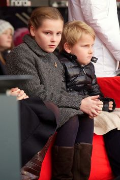 Princess Ingrid Alexandra of Norway (L) and Prince Sverre Magnus of Norway attend the Save The Children's Peace Prize Festival in Oslo on 10.12.2014 in Oslo, Norway.